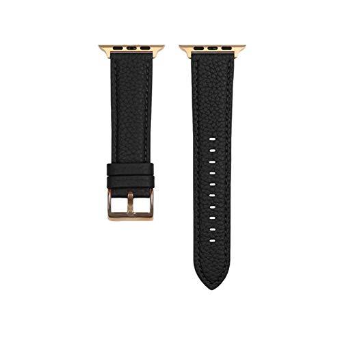 YGGFA Correa de reloj para Apple Watch Series 6, SE, 5, 4, 3, 2, 1, correa de cuero de grano litchi genuino, para iWatch hebilla de oro rosa 40, 44 mm (color de la correa: negro, tamaño: 38 mm 40 mm)