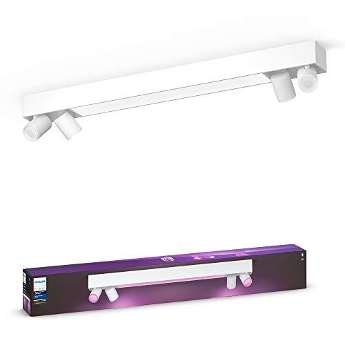 Philips Hue Centris Lámpara Inteligente LED blanca (4 focos + lámpara), con Bluetooth, Luz Blanca y Color, Compatible con Alexa y Google Home