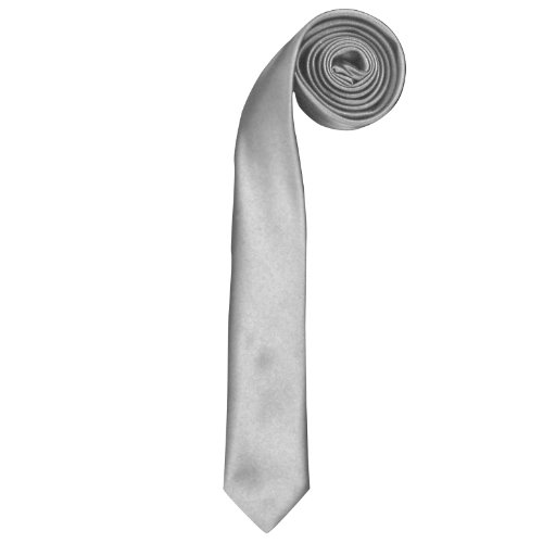 Premier - Cravate slim rétro - Homme (Taille unique) (Argent)