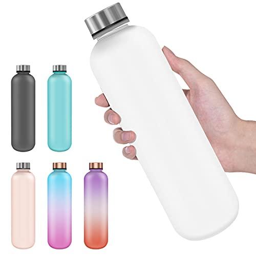 Trinkflasche 1 Liter, BPA-frei Tritan wasserflasche mit zeitmarkierungen, Kohlensäure geeignet, auslaufsichere trinkflasche für Sport, Fitness, Büro(Frosted White)
