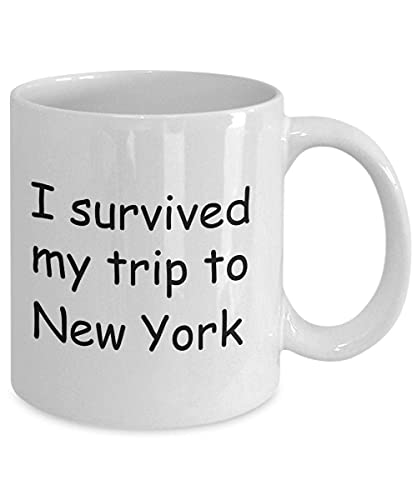 New York Mugs Souvenirs - sobreviví mi Viaje a Nueva York - Taza de café con Leche Taza de té de Regalo de 11 oz