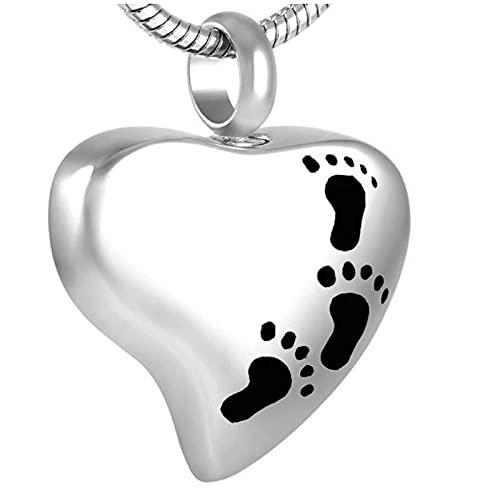Ysain Collar Urna para Cenizas Collar De Urna De Cremación En Forma De Corazón De Acero Inoxidable 316L En Blanco Grabable Gratis, Colgante De Cenizas De Recuerdo para Mujer, Joyería