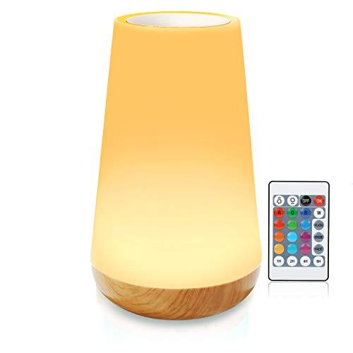 Luce notturna, lampada da comodino Smart Touch, lampada da scrivania a led batteria, lampada camera da letto, lamp da tavolo (Luce bianca calda a 3 livelli regolabile e RGB a sei colori che cambia)
