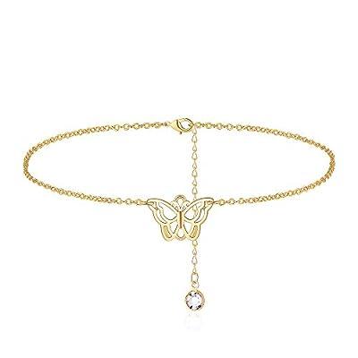 Butterfly Ankle Bracelets for Women, 14K Gold Personalized Butterfly Anklets for Women Teen Girls Beach Jewelry