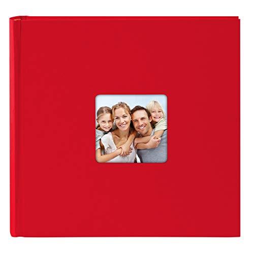 goldbuch Fotoalbum mit Bildausschnitt, Living, 30x30 cm, 100 weiße Seiten mit Pergamin-Trennblättern, Hochwertiger Einband aus Strukturpapier in Leinenoptik, Rot, 31 092
