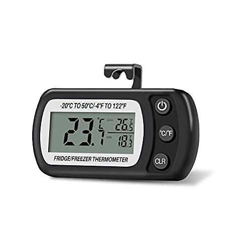 Tuberon Termómetro de nevera Termómetro digital resistente al agua para congelador Termómetro de habitación con gancho Pantalla LCD...