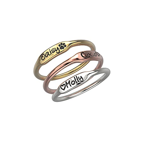 RemonSum Anillo de plata de ley personalizable apilable para mujeres y niñas con nombre grabado personalizado iniciales inspirador anillo de dedo apilable para graduación de Acción de Gracias,