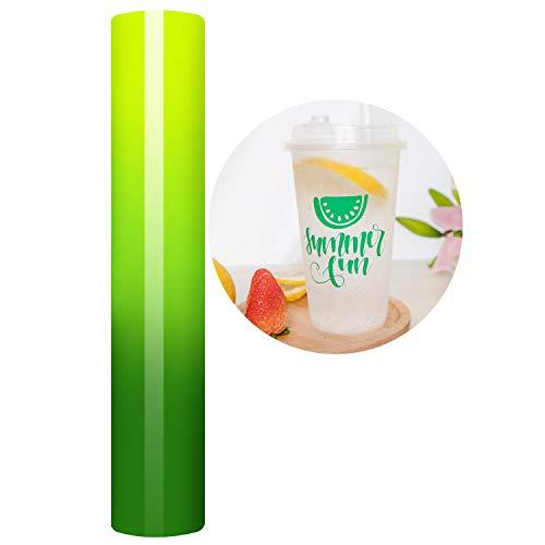 Rollo de vinilo adhesivo de 12 x 5 pies de color amarillo neón a verde que cambia de vinilo para pegatinas, tazas, botellas de agua