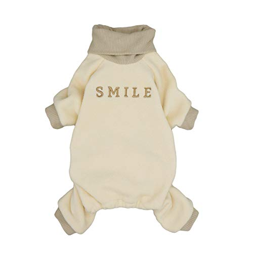 Fitwarm Embroidery Dog Clothes Turtleneck Thermal Fleece Puppy Pajamas Doggie Outfits Cat Onesies Jumpsuits Blue XS