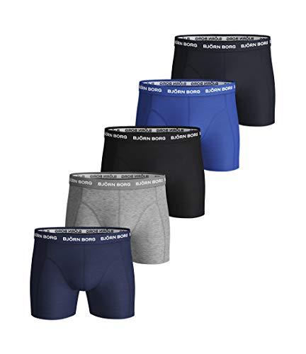 Bjorn Borg heren effen set boxershorts (comfortabel ondergoed van stretchkatoen, slip voor heren, 5 stuks, blauw, Large)