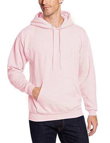 Hanes Men's Pullover Ecosmart Fleece Hooded Sweatshirt, pale pink, Small
