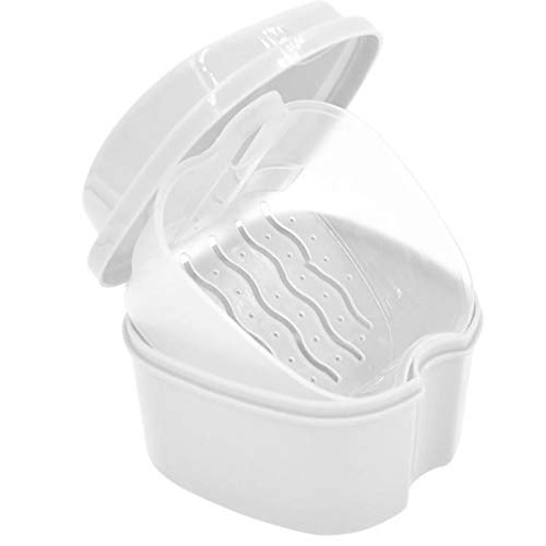 Odoukey 1PC Caja Fuerte dentadura con Simple recuperación Tab Caso del baño de la dentadura Dientes Falsos de Almacenamiento Premium Boca Guardia Safe Guard dentaduras y Objetos de Valor (Blanco)