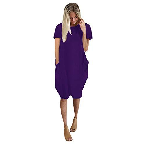 XOXSION Minivestido casual de bolsillo con columpio, para mujer, de gran tamaño, holgado, informal, de manga corta, vestido de vacaciones de verano