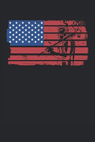 Leñador de la bandera americana: Cuaderno rayado de 6