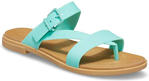 Crocs Sandalias para niña Tulum Toe Post W para tiempo libre y ropa deportiva, color Verde, talla 36.5 EU