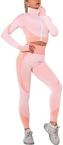 AGUTIUN Womens Workout Tracksuit 2 Pieces Set High Waist Leggings and Long Sleeve Crop Top Yoga product image