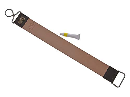 Solinger Streichriemen/Hängeriemen für Rasiermesser aus Rindleder 40 cm+ Streichpaste weiß/gelb zur professionellen Pflege (einfetten) - im Set- solinger Produktion