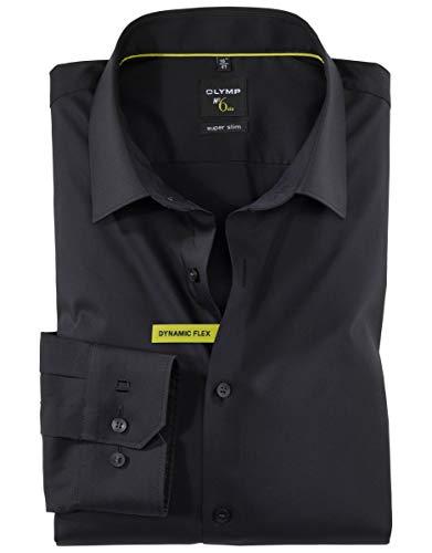 OLYMP Herren Hemd NO.6 Super Slim Fit Dynamic Stretch, Farbe:68 schwarz, Größe:39