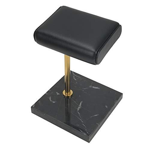 joyMerit Uhrenständer aus Marmor und PU-Leder, Uhrenhalter Armbandhalter Schmuckständer Schmuckhalter für Armbanduhr - Schwarzer Marmorsockel + Goldener Ständer