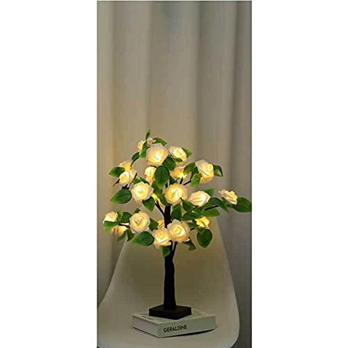 SJHP Árbol Bonsái Lámpara de Mesa LED Lámpara de Árbol de Rosas Funciona con Pilas IP42 a Prueba de Agua para Navidad Casa Vacaciones Bodas Cumpleaños Fiesta de Cumpleaños