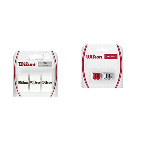 Wilson Pro Overgrip Perforated Empuñadura, 3 Unidades, Unisex + Pro Feel Antivibrador Raqueta-Unisex, Rojo/Plata, NS