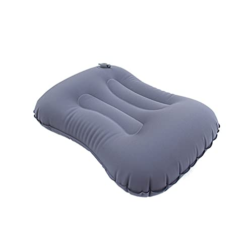 SONG Almohada for Acampar, Almohada de Viaje Inflable Ligero comprimido cómodo cómodo Almohada ergonómica for al Aire Libre (Color : Grey)