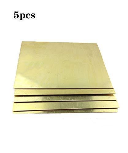 OLJF 5Pcs Latón Hoja Tira De Cobre Delgada Lámina Metálica Placa Latten 100 Mm X 100 Mm X 0,5 Mm, 0,8 Mm, 1 Mm, 1,2 Mm, 1,5 Mm H62,0.8mm