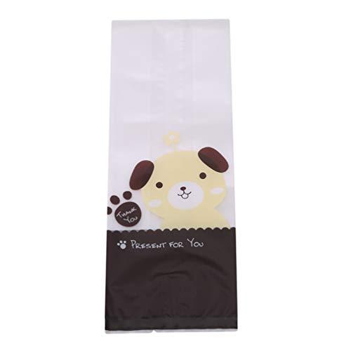 LJSLYJ Wiederverschließbare Kekstaschen Clear Treat Taschen Dog Cat Aufkleber für Cookie Bakery Candy Biscuit Bags, Welpe