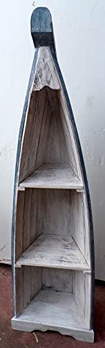 Marblechic - Librería con forma de barco de 155 cm de altura en albesia con 3 estantes de color blanco decapado y azul.