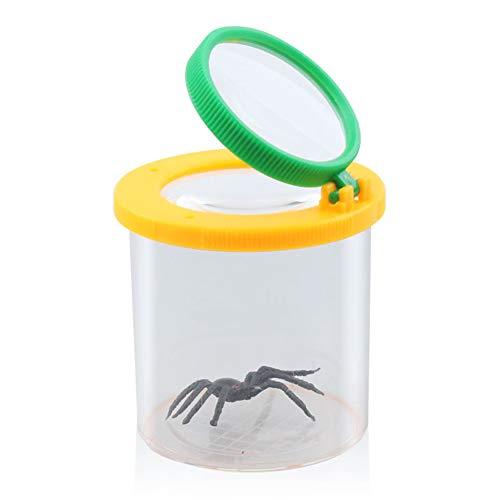 OMEM Reptiel Spin Vergrootglas Container Twee Lens Explorer Insect Viewer Locket Box verzamelen Potje Kleine Dieren, Geel