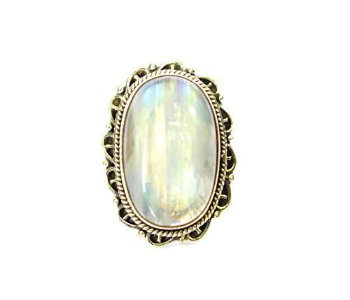 Anillo único de plata de ley 925, diseño de piedras preciosas hechas a mano, diseño de piedras preciosas y piedras lunares, tribales y gitanas, talla 9