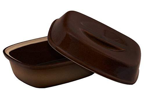 Original K&K K&K Steinzeug Bräter 3,0 Liter, braun-geflammt aus hochwertiger Steinzeug-Keramik