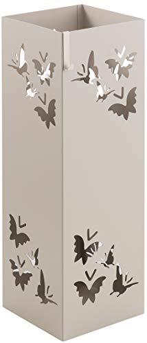 Baroni Home Paragüero cuadrado de metal con incrustación rectangular de mariposas gris de paloma 15,5x15,5x49 cm con gancho y bandeja recogegotas extraíble
