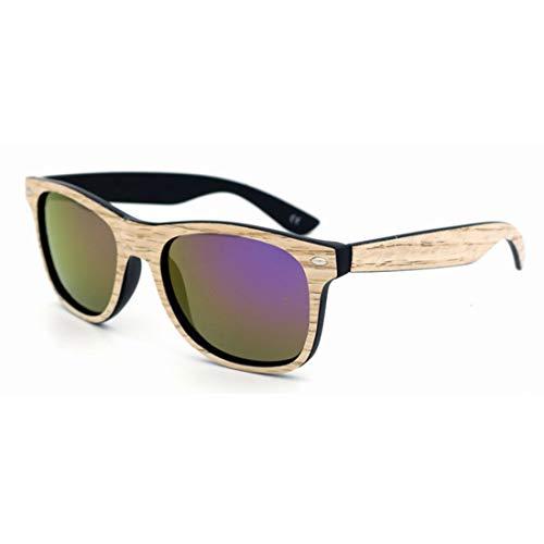 MIMIOOORE Personalidad de los Hombres de la Vendimia Mujeres de Color de la Lente de Madera Hecho a Mano Gafas de Sol UV Protección (Color : Powder)