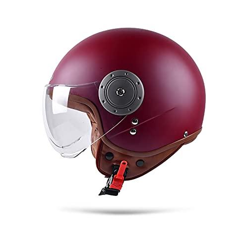 BOSERMEM Cascos De Motocicleta para Hombres y Mujeres, Cascos De Ciclomotor con Viseras.El Cabezal Anticolisión Protege La Seguridad Vial De Los Usuarios(Rojo)