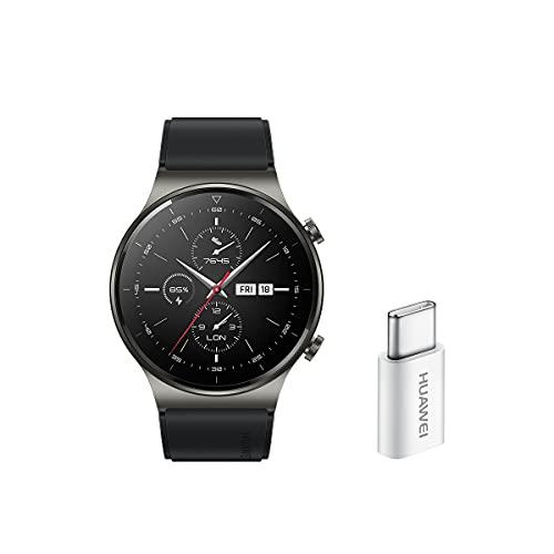 HUAWEI Watch GT 2 Pro - Smartwatchcon Pantalla AMOLED de 1.39' y Adaptador USB-C, hasta Dos semanas de batería, Negro, 46 mm