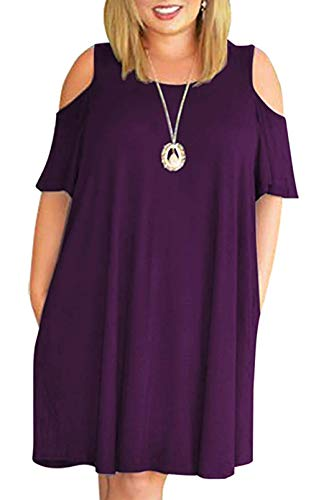 HBEYYTO Women Plus Size Dresses Cold Shoulder Short Sleeve Casual Loose T-Shirt Swing Dress with Pockets (3X Plus, Purple)