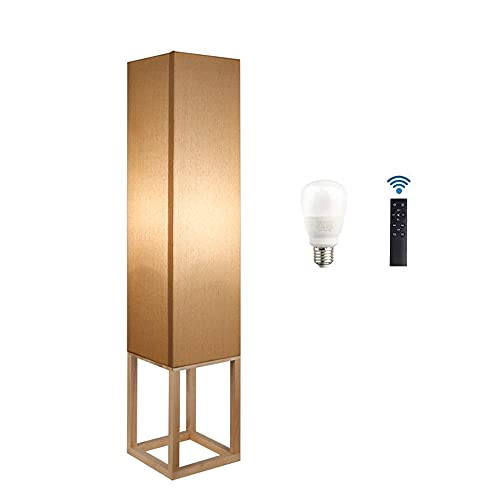 DROMEZ 12W LED Lámpara de pie de Madera, Regulable Luz de Pie con Control Remoto, Interruptor de Pie, Pantalla de Tela, E27 Lámpara Vertical para Sala de Estar Dormitorio Cafetería, Estilo japones
