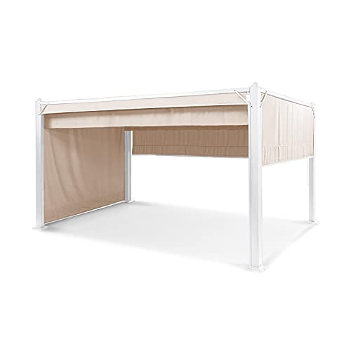 blumfeldt Pantheon Cortina Pavillon, Aluminiumkantrohr, 10x10 cm Eckpfosten mit 1 mm Materialdicke, 4 Seitenteile, Dach mit wasserabweisender Beschichtung, überdachte Fläche: 3x4 m, beige