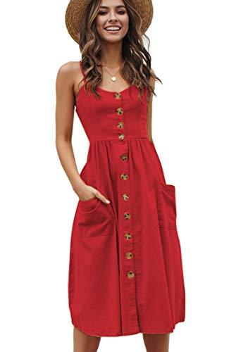 OMZIN Damen Kleid Sommerkleid Sexykleid Bedruckteskleid Spitzenkleid Schulterfrei Urlaubkleid A-Linie Vintage Bohokleid Rot S