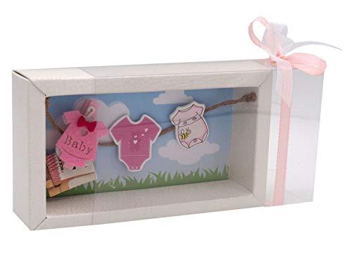 ZauberDeko Geldgeschenk Verpackung Baby Strampler Rosa Blau Geburt Junge Mädchen Taufe Gutschein, Modell:Mädchen1