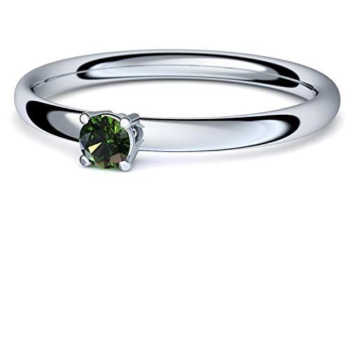 Turmalin Ring Silber 925 (***sehr hochwertiger Turmalin 3 mm***) + GRATIS Luxusetui Silberring grüner Stein Silberring Turmalin Turmalinringe Ringe Damen Schmuck AM161 SS925TUFA58