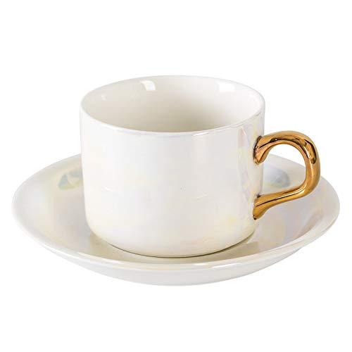 Taza Sparkle blancos Taza tazas del cappuccino con platillos y cuchara 5.1 onzas de porcelana taza de espresso Americano Tazas for café con leche, café moka y regalos de té Tazas