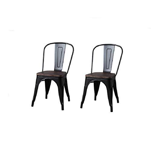 CHERRIESU Sillones de Comidas 2, sillas de Comedor industriales apilables con Respaldo de reposabrazos y Asiento de Madera, Comedor, sillas de Cocina para Restaurante bistró Patio