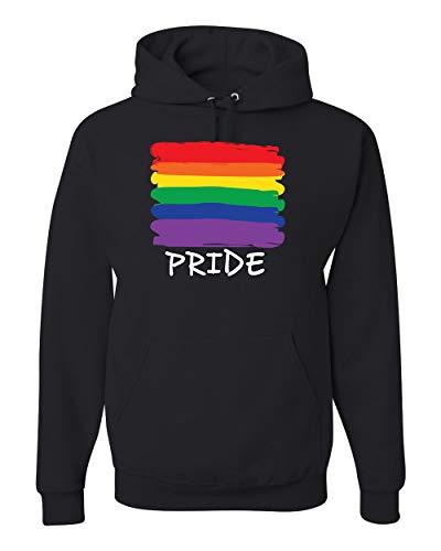 Pride Month Gay LGBTQ Flag Colors Parade Love | Mens LGBT Pride Hooded Sweatshirt Graphic Hoodie, Black, 3XL