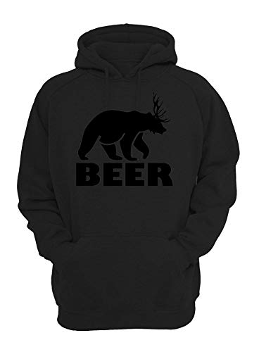 Bier grappige beer en hert mashup grafische unisex hoodie