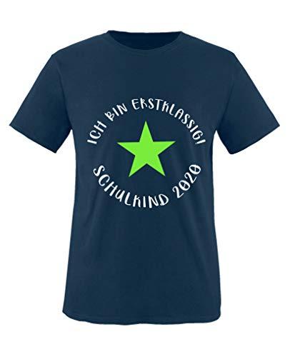 Comedy Shirts - Ich bin erstklassig! Schulkind 2020 - Jungen T-Shirt - Navy/Weiss-Neongrün Gr. 122/128