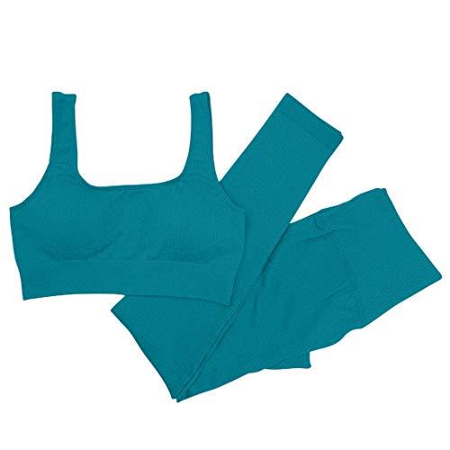 Mayround Trainingsoutfits für Frauen 2 Stück Gerippt Nahtlose Yoga Outfits Sport BH und Hoher Taille Leggings Set (Grün, M)