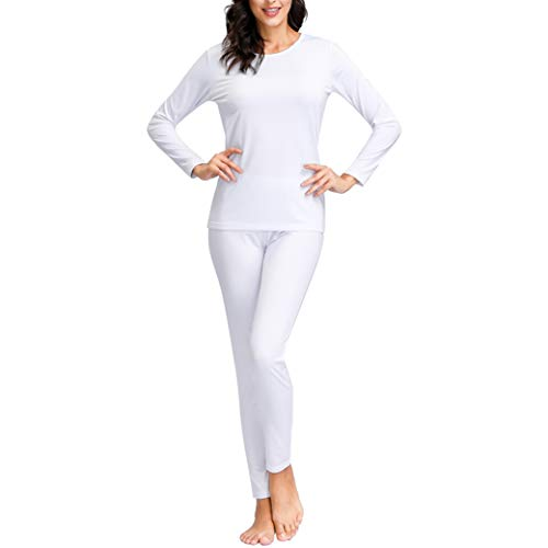 Women Thermal Underwear | Fleece Lined Long Johns Set with ThermicFlex Technology | Layering Fibers, Ultra Soft Breathable Warm Base Layer for Ski Hiking Camping Essentials Gear White Small
