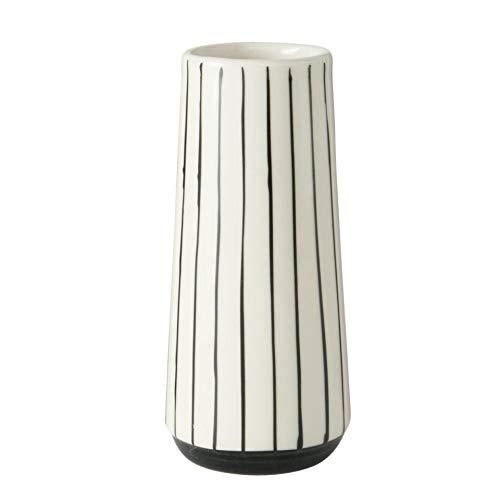 Moderne Deko Kermik Vase schwarz weiß gestreift H15cm D7cm